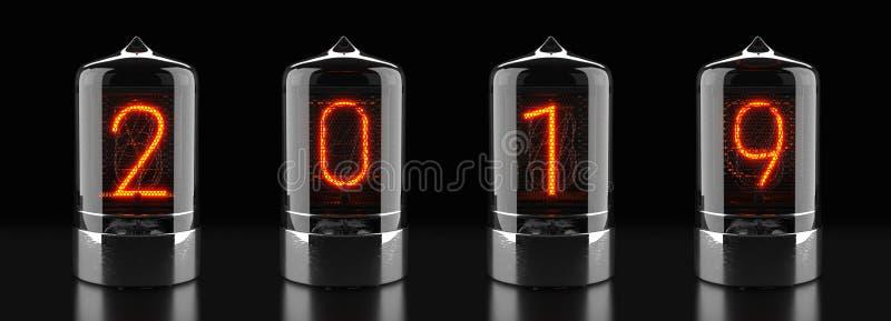 Indicador del tubo de Nixie, indicador por descarga de gas de la lámpara en fondo oscuro El número 2019 de retro representación 3 fotografía de archivo libre de regalías