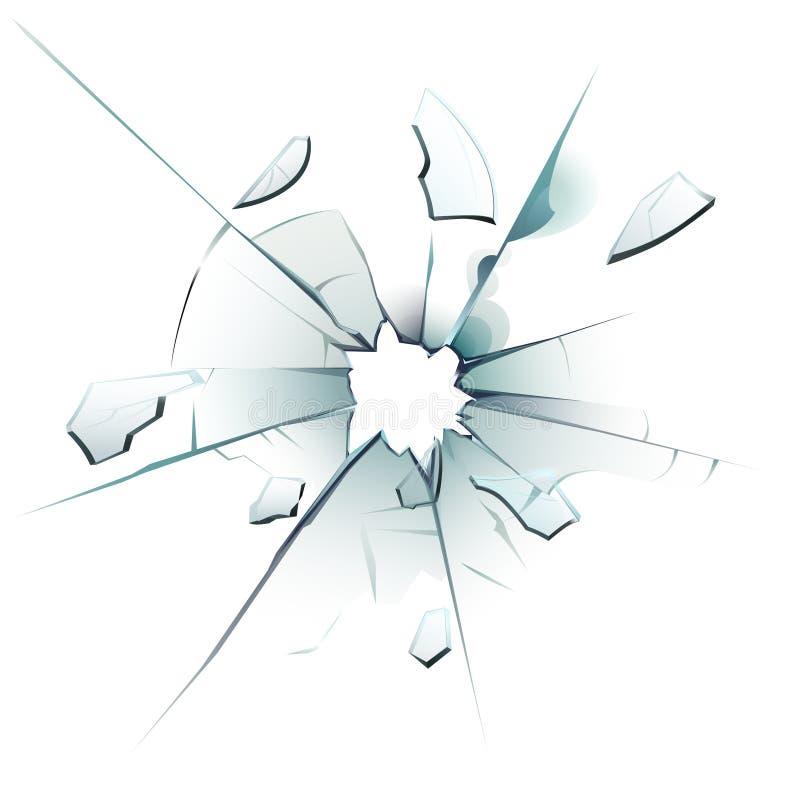 Indicador despedaçado Vidro rachado, quebras do buraco de bala e vetor isolado realístico dos estilhaços de vidro de superfície v ilustração do vetor