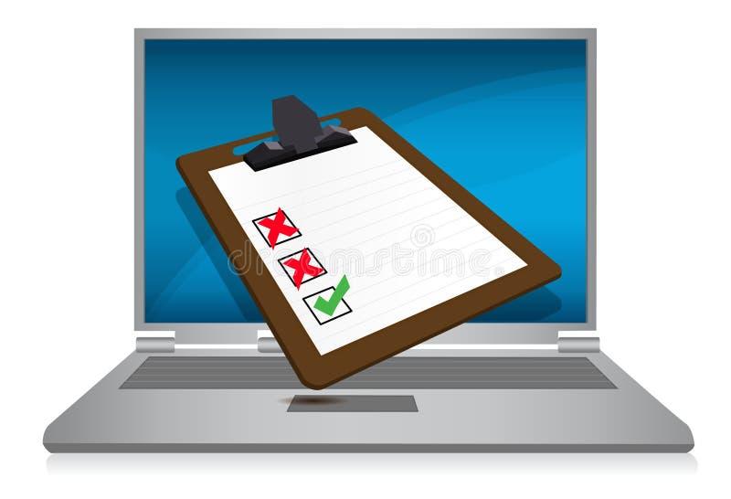 Indicador do portátil com um exame ilustração stock