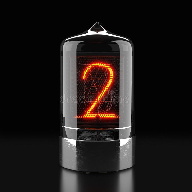 Indicador do tubo de Nixie, indicador com descarga a gás da lâmpada no fundo escuro O número dois de retro rendição 3d fotografia de stock royalty free
