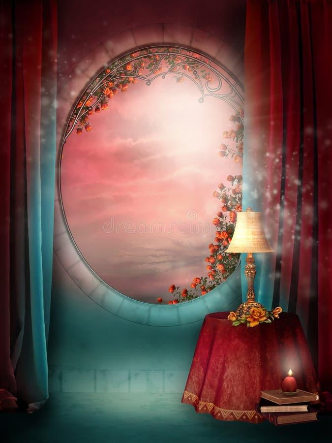 Indicador do Victorian com cortinas ilustração do vetor