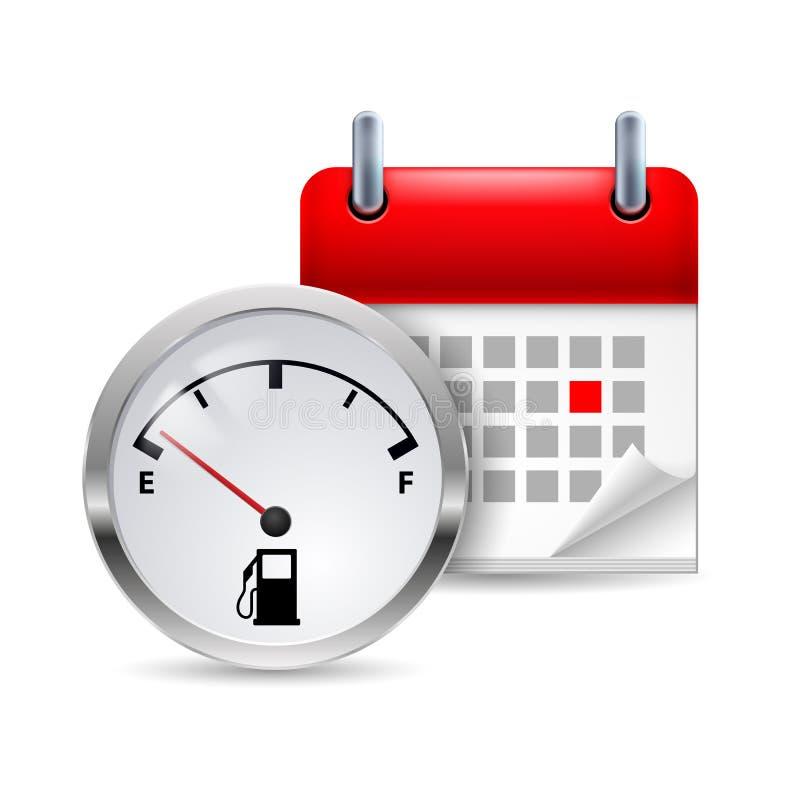 Indicador e calendário de combustível ilustração stock