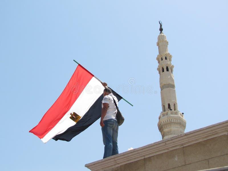 Indicador egipcio de la explotación agrícola del manifestante fotografía de archivo libre de regalías