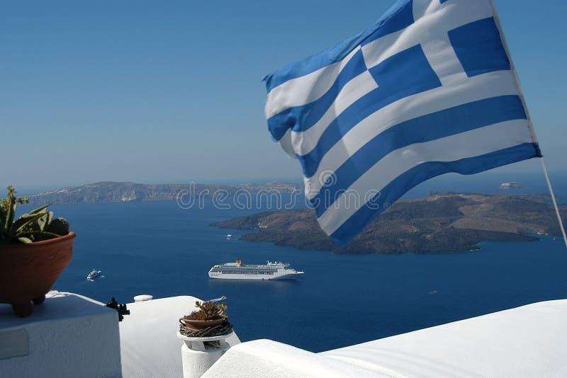 Indicador Griego Y El Mar Imagen de archivo libre de regalías