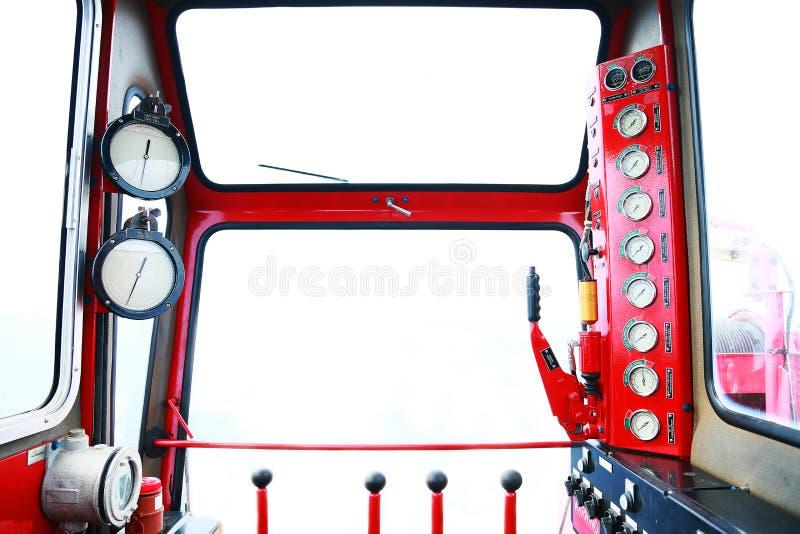 Indicador hidráulico da carga na sala de comando, na exposição do calibre mostrar o estado do sistema hidráulico e do monitor pel fotografia de stock