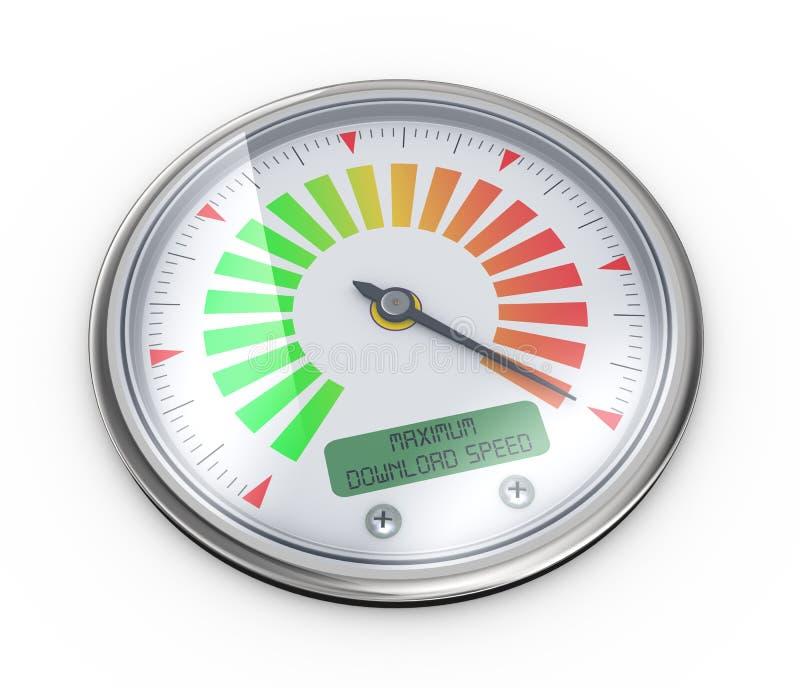 indicador máximo del metro de velocidad de la transferencia directa 3d ilustración del vector