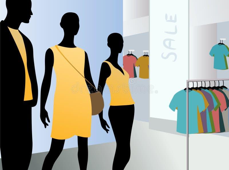 Indicador no mercado do vestido com mannequins pretos ilustração do vetor