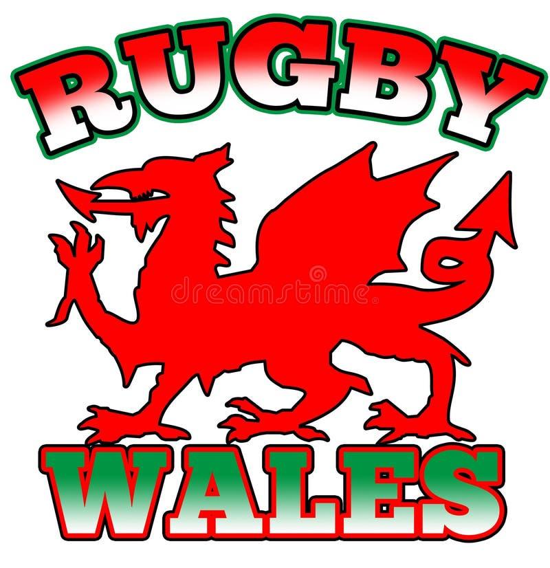 Indicador rojo de País de Gales del rugbi del dragón ilustración del vector