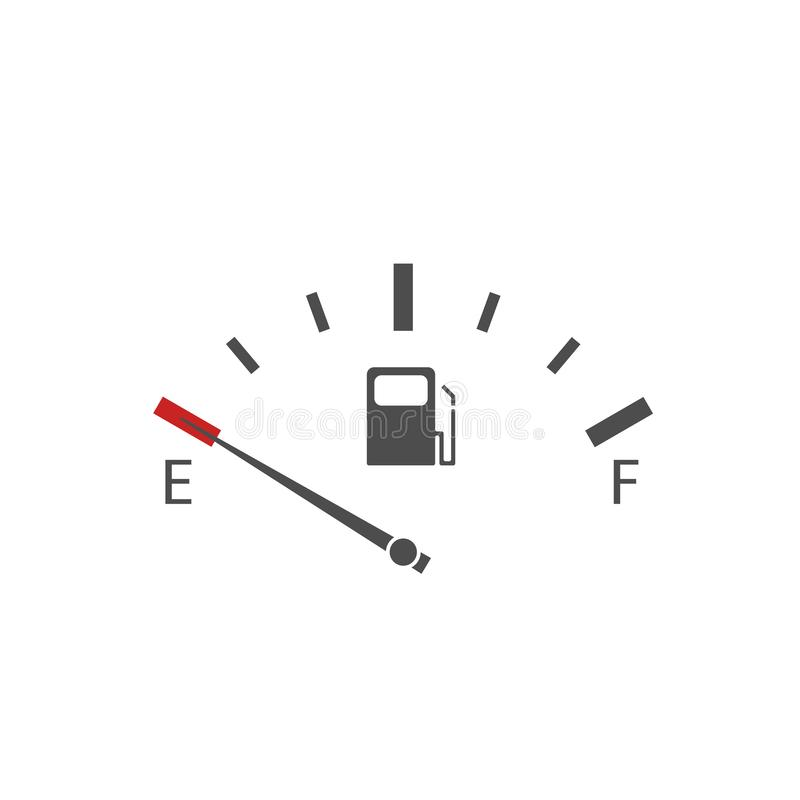 Indicador vazio do dep?sito de gasolina ilustração do vetor