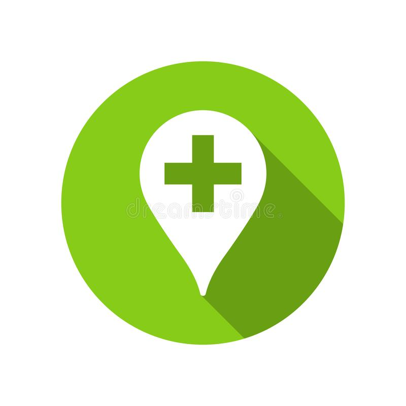 Indicador verde de la farmacia para el ejemplo de la medicina, de la ambulancia y de doctores stock de ilustración