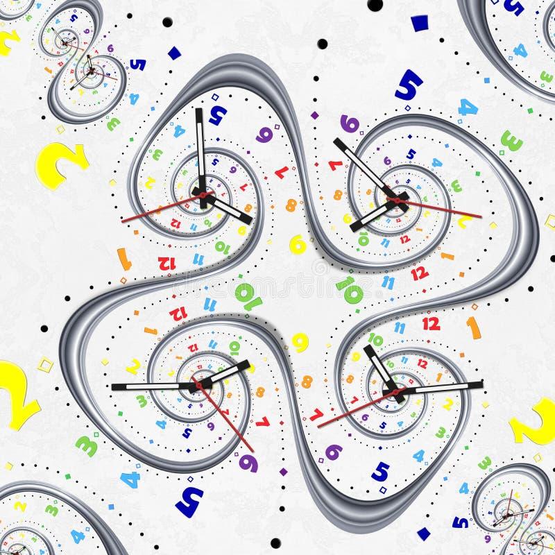Indicadores blancos modernos abstractos de las manos de reloj del fractal del reloj del espiral del arco iris Modelo abstracto in ilustración del vector
