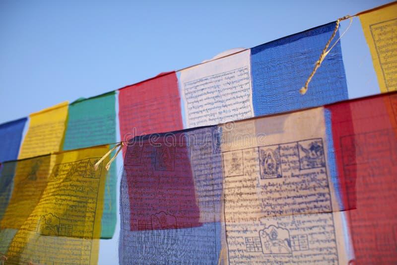 Indicadores budistas coloridos del rezo foto de archivo