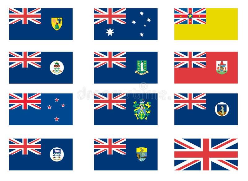 Banderas coloniales británicas stock de ilustración