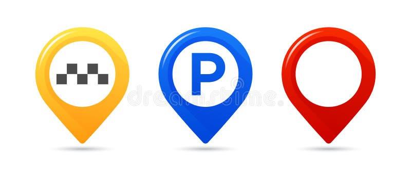 Indicadores coloridos del mapa Trace el indicador, trace el indicador del estacionamiento, indicador del taxi del mapa stock de ilustración