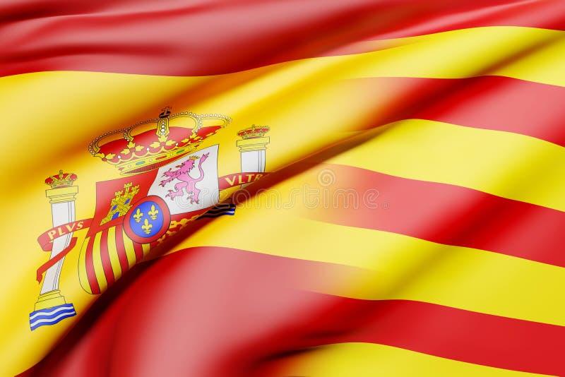 Indicadores de España y de Cataluña stock de ilustración
