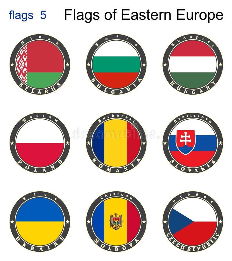 Indicadores de Europa Oriental Banderas 5 ilustración del vector