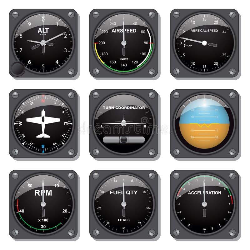 Indicadores de los aviones fijados ilustración del vector