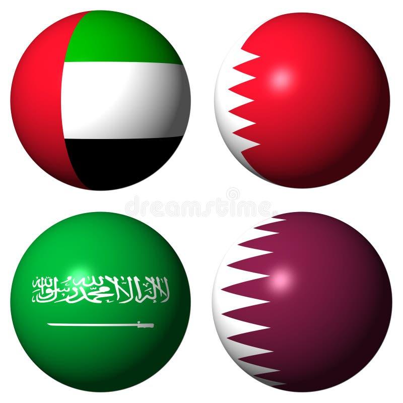 Indicadores de los UAE Bahrein la Arabia Saudita Qatar ilustración del vector