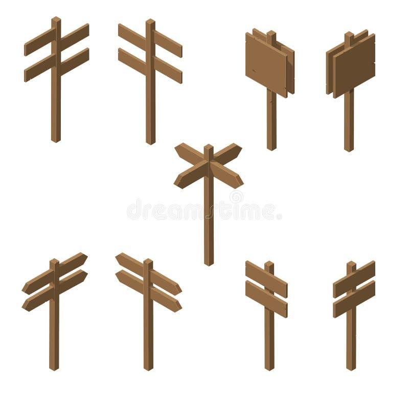 Indicadores de madera isométricos ilustración del vector