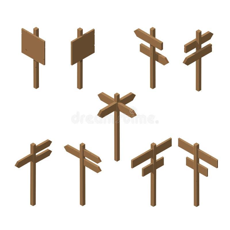 Indicadores de madera isométricos libre illustration