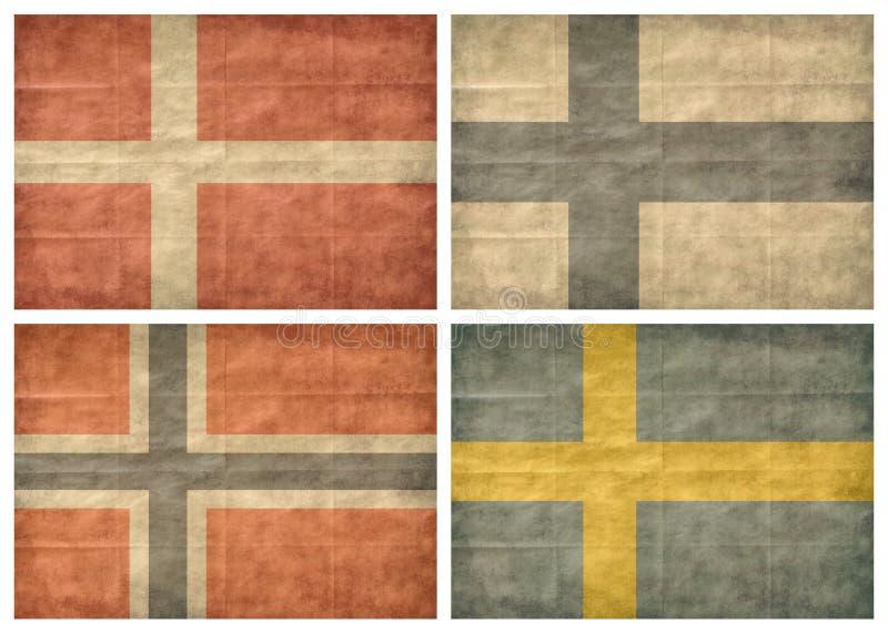 Indicadores de países nórdicos del 1/2 stock de ilustración