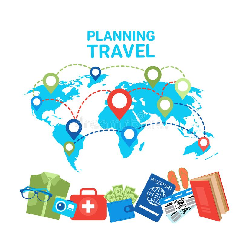 Indicadores de planificación del concepto del viaje en iconos de los artículos del equipaje del mapa del mundo stock de ilustración
