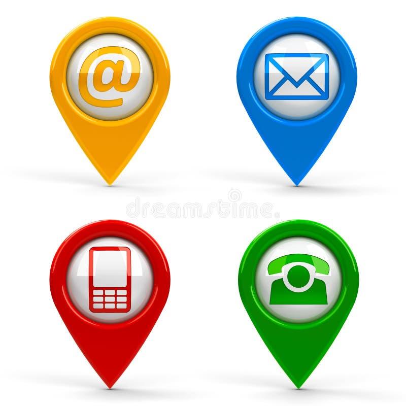 Indicadores del mapa del contacto stock de ilustración