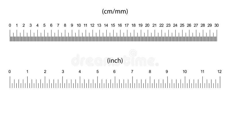 indicadores do tamanho da régua ilustração do vetor