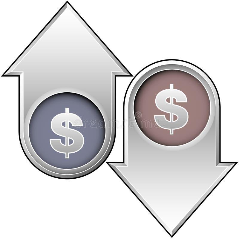 Indicadores do valor do dólar ilustração stock