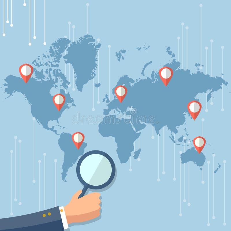 Indicadores globales del mapa del mundo del concepto de la tecnología ilustración del vector