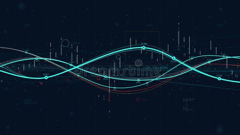 Indicadores grandes da analítica dos dados das estatísticas, gráfico digital da estratégia empresarial que indica o progresso ilustração stock