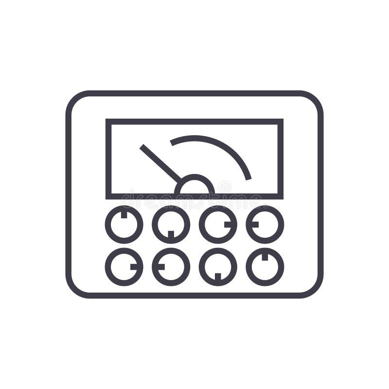 Indicadores mensuráveis, linha ícone do vetor do calibre, sinal, ilustração no fundo, cursos editáveis ilustração do vetor