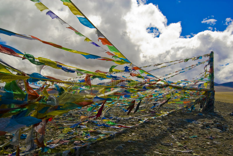 Indicadores tibetanos del rezo foto de archivo