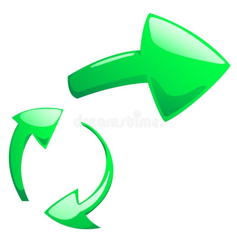Indicadores verdes de la deformación con la sombra ligera stock de ilustración