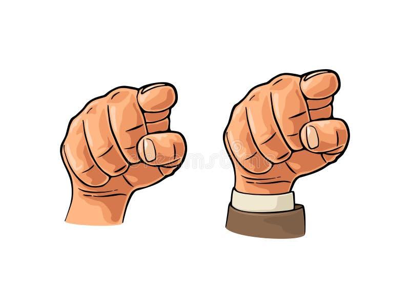 Indicando dito allo spettatore, dalla parte anteriore Colore di vettore piano illustrazione di stock