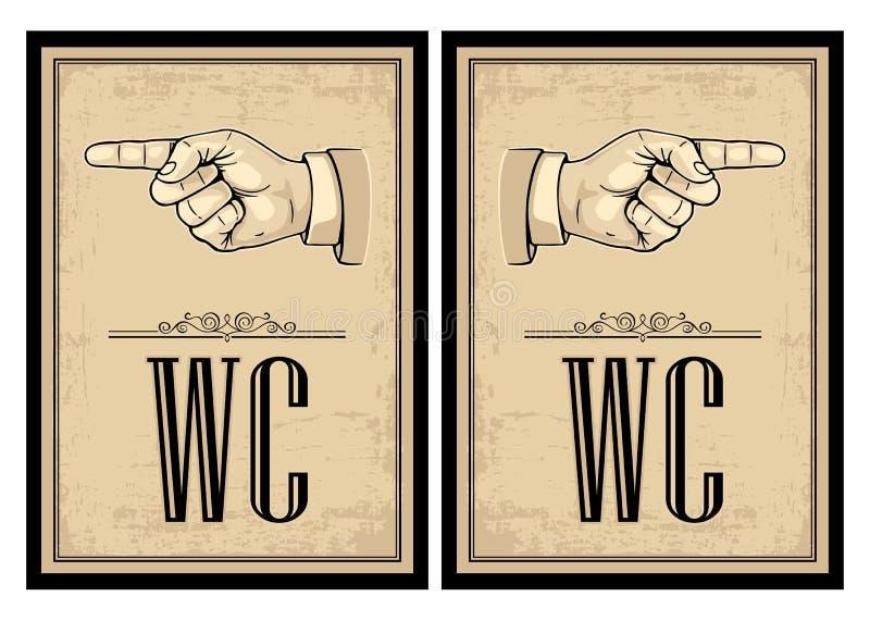 Indicare barretta Illustrazione d'annata di vettore su fondo beige Segno per il web, manifesto della mano royalty illustrazione gratis