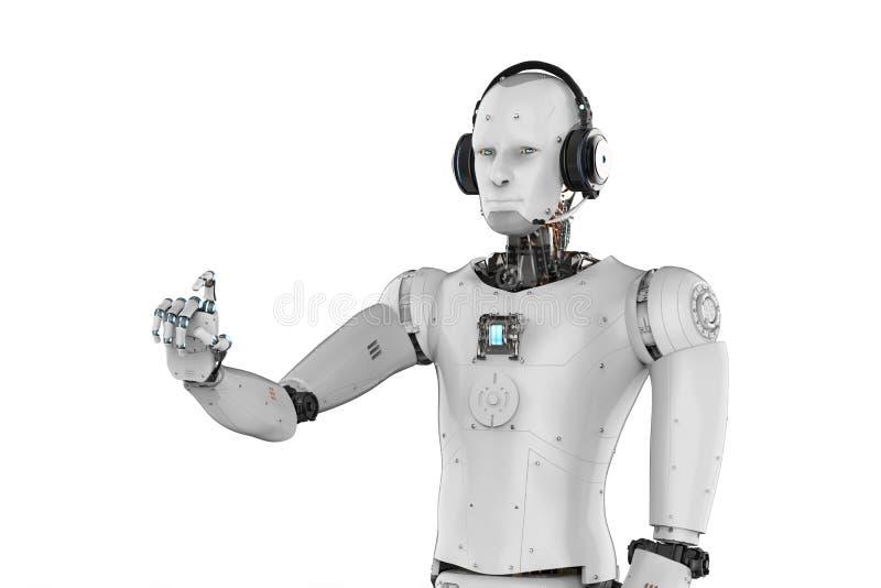 Indicare d'uso della cuffia avricolare e della mano del robot illustrazione di stock