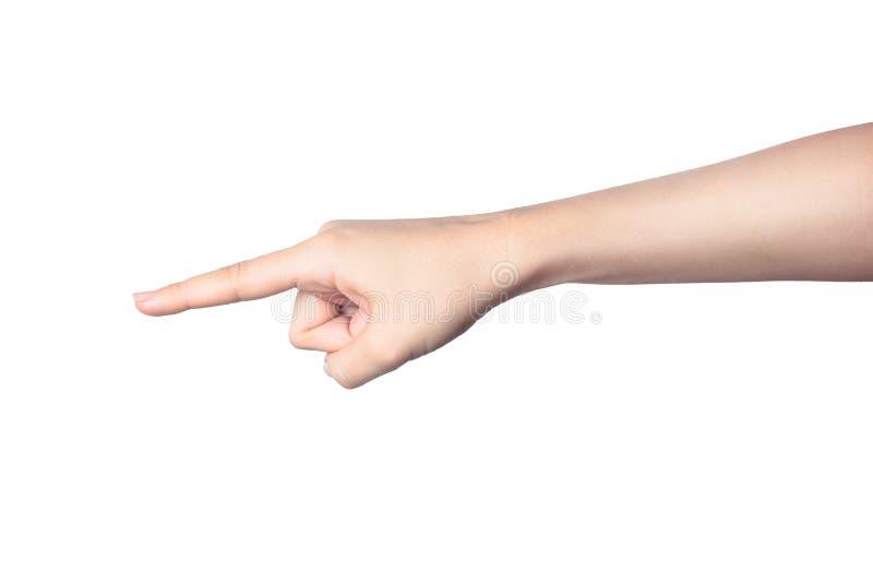 Indicare del dito della mano della donna isolato su fondo bianco fotografie stock