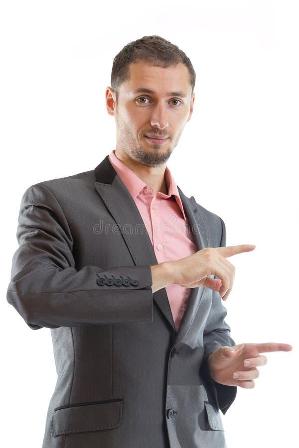 Indicare dell'uomo d'affari del legame di Ssuit immagini stock