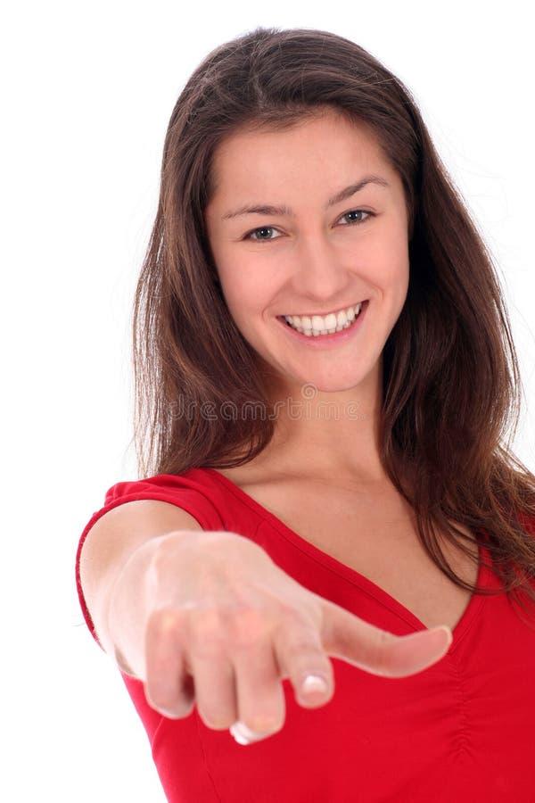 Download Indicare della donna immagine stock. Immagine di sorriso - 3892761