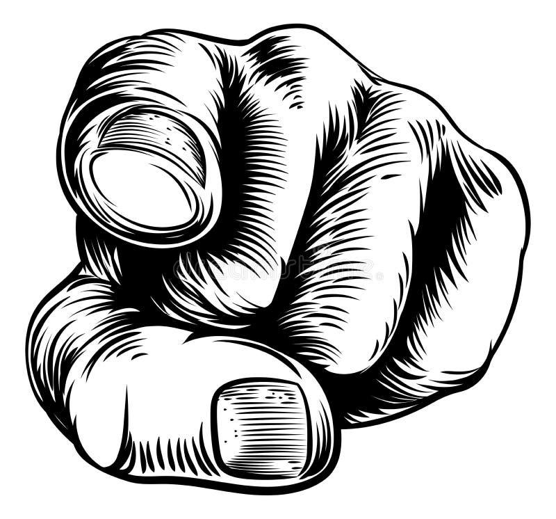 Indicare della mano vi vuole dito illustrazione vettoriale