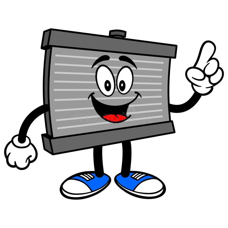Indicare della mascotte del radiatore illustrazione di stock