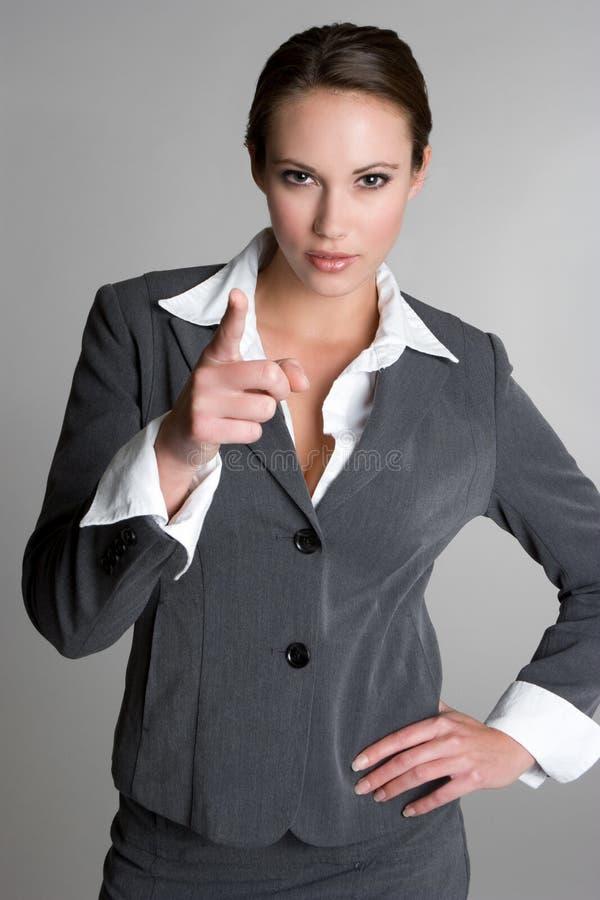 Indicare donna di affari fotografia stock libera da diritti