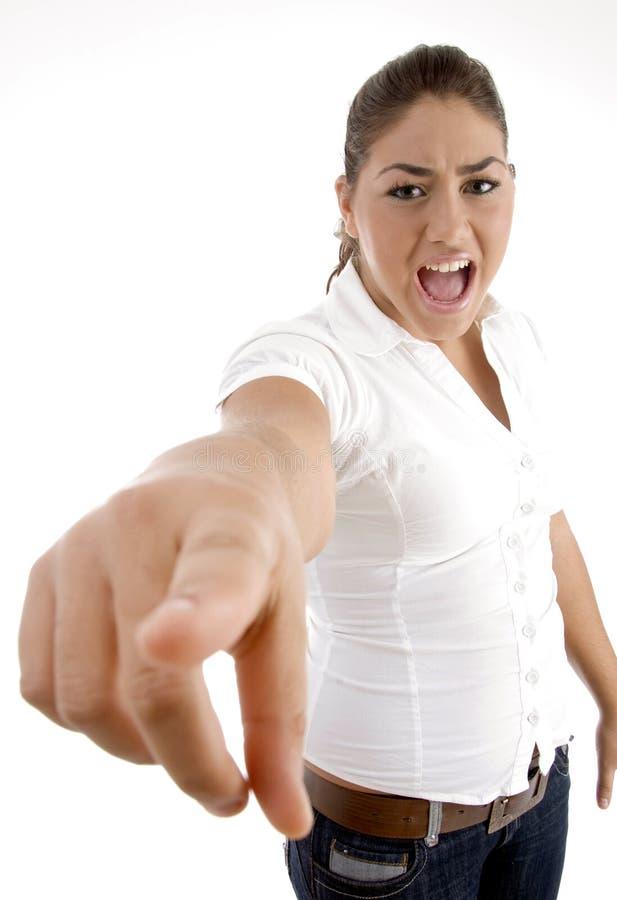 Indicare gridante della donna fotografia stock