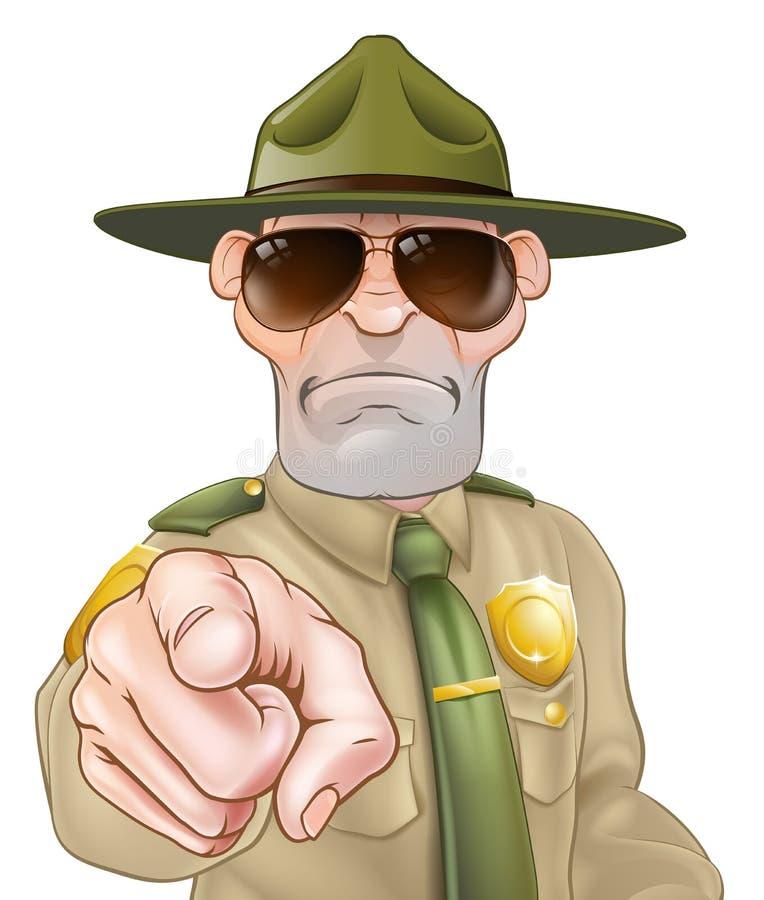 Indicare il guardia forestale di parco illustrazione vettoriale
