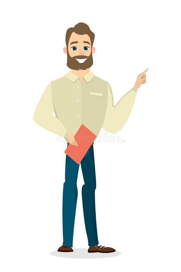 Indicare isolato dell'uomo d'affari illustrazione di stock