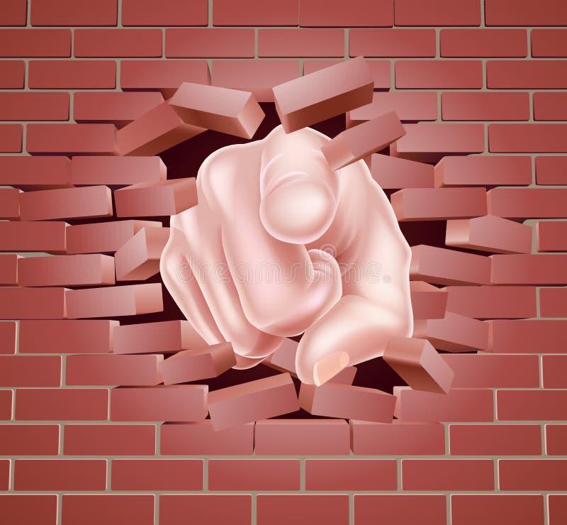 Indicare mano che tagliato muro di mattoni rosso illustrazione di stock