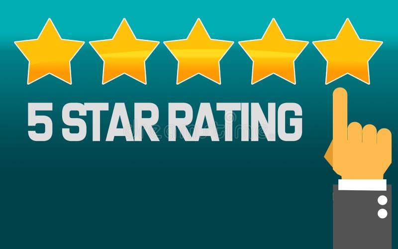 Indicare mano e cinque stelle con la valutazione cinque stelle royalty illustrazione gratis