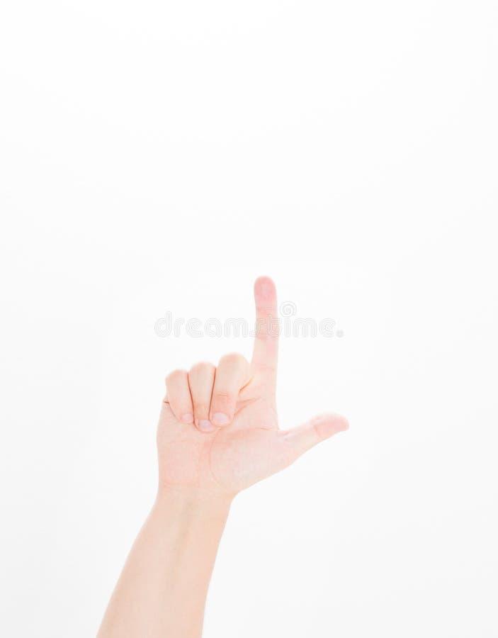 Indicare maschio della mano Isolato su priorità bassa bianca mano caucasica Derisione su Copi lo spazio mascherina blank fotografia stock