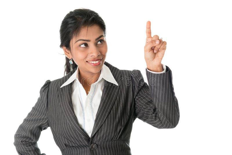 Indicare nero della donna di affari immagini stock libere da diritti